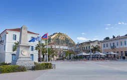 Square of the Philhellenes with Palamidi fortress in background, Nafplio, Greece Stock Photography