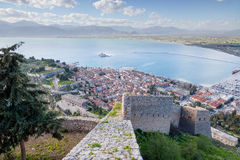 View of Nafplio town from Palamidi fortress, Peloponnese, Greece Stock Images