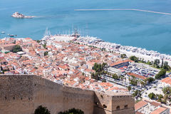 Nafplio town seen from Palamidi Castle, Greece Royalty Free Stock Image