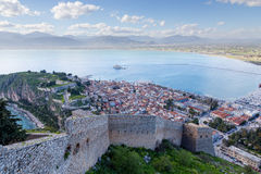 Nafplio view, Peloponnese, Greece. Nafplio is a seaport town in the Peloponnese in Greece that has expanded up the hillsides near the north end of the Argolic royalty free stock photos