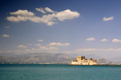 Nafplion harbour fort, Greece Royalty Free Stock Images