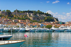 Nafplion port. View of Nafplion port and Acronafplia castle, Greece royalty free stock image