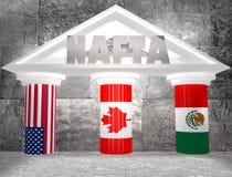 Nafta - acordo de comércio livre de North-american Imagem de Stock Royalty Free