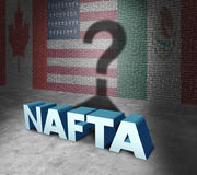 NAFTA Concept. NAFTA or the north american free trade agreement concept as the flags of United States Mexico and Canada as a trade deal negotiation question for Royalty Free Stock Photography