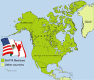 NAFTA map. A map of NAFTA and surrounding territories royalty free illustration