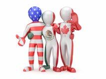 NAFTA. Povos na cor da bandeira nacional. Foto de Stock Royalty Free