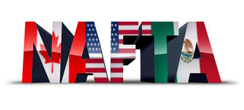 NAFTA Symbol. NAFTA or the north american free trade agreement symbol as the flags of United States Mexico and Canada as a trade deal negotiation and economic Stock Photography