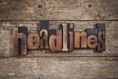 Nagłówki pisać z letterpress typ Obrazy Stock