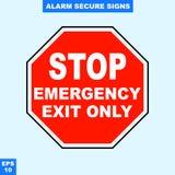 Nagłego wypadku alarm bezpieczeństwa i alarm podpisujemy wewnątrz wektor stylową wersję, łatwą używać i drukować Zdjęcie Stock