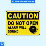Nagłego wypadku alarm bezpieczeństwa i alarm podpisujemy wewnątrz wektor stylową wersję, łatwą używać i drukować Obrazy Stock