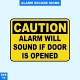 Nagłego wypadku alarm bezpieczeństwa i alarm podpisujemy wewnątrz wektor stylową wersję, łatwą używać i drukować Zdjęcia Royalty Free