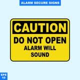 Nagłego wypadku alarm bezpieczeństwa i alarm podpisujemy wewnątrz wektor stylową wersję, łatwą używać i drukować Zdjęcie Royalty Free