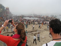 Nag Nathaiya Krishna Ceremony, Ganges River, Varanasi, India. Thousands of people gather on the Varanasi ghats to commemorate the victory of Krishna over the Royalty Free Stock Images