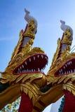 Naga ή ασιατικό γλυπτό δράκων ενάντια στο μπλε ουρανό Στοκ φωτογραφίες με δικαίωμα ελεύθερης χρήσης