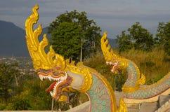 Naga на виске Phu Salao, Pakse, Лаосе Стоковая Фотография RF