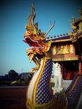 Naga. The art of sclupture naga in temple  north of thailand Stock Image