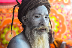 Naga Baba Portrait, at the Kumbh Mela Festival, Allahabad, India 2013. Naga Baba Painted in Ash Baba close to the sangum of the Ganges, Yumana and Saraswati stock photos