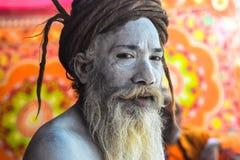 Naga Baba Portrait, på Kumbhen Mela Festival, Allahabad, Indien 2013 arkivfoton