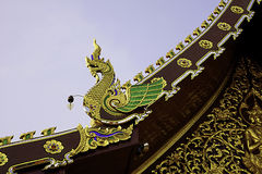Naga bird on gable. Naga bird is animal from the legend of Himabhan forest stock images