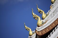 Naga decoration at the roof of temple in Luangprabang, Laos stock image