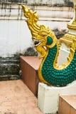 Naga drabinowa rzeźba w Lao świątyni Fotografia Stock