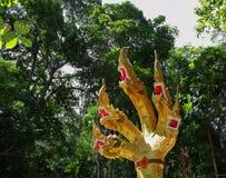 Naga. Five heads Naga on the stone Ranong Thailand Royalty Free Stock Images