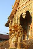 Naga in front of the temple in the north of Thailand Royalty Free Stock Photos