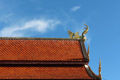 Naga gable apex on top of roof. Royalty Free Stock Image