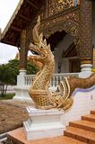 Naga guarding the Temple entrance. Buddhist mythical figure of Naga guarding the entrance to a Temple in Chaing Mai,Thailand Stock Photo