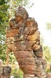 Naga kamienia rzeźba przy Preah Khan świątynią, Kambodża Zdjęcie Stock