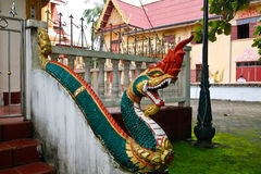 Naga ladder sculpture in Lao temple. Laos Stock Photos