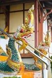 Naga ladder sculpture in Lao temple. Laos Stock Images