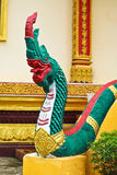 Naga ladder sculpture in Lao temple Royalty Free Stock Images