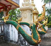 Naga ladder sculpture in Lao temple. Laos Royalty Free Stock Image