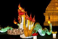 Naga  lantern in Yee-peng festival ,ChiangMai Royalty Free Stock Images