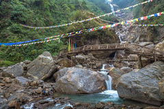 Naga mountain waterfalls North Sikkim, India. Naga waterfall between Mangan and Chungthang in North Sikkim India stock photo