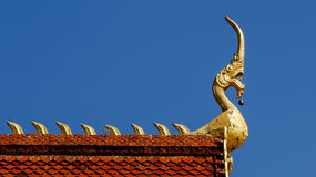 Naga on roof of temple Royalty Free Stock Photography