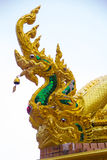Naga on the roof. Of Wat Tai Phra Chao Yai Ong Tue,Ubonratchathani Province,Thailand Royalty Free Stock Photography