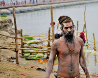 Naga sadhu in kumbh 2013 in allahabad Royalty Free Stock Images