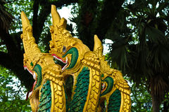 Naga sculpture in Lao temple Royalty Free Stock Photography