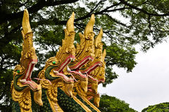 Naga sculpture in Lao temple Royalty Free Stock Images