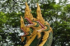 Naga sculpture in Lao temple. Naga ladder sculpture in Lao temple, Laos Royalty Free Stock Photo