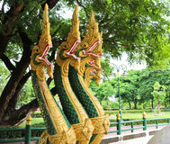 Naga sculpture in Lao temple. Laos Royalty Free Stock Images