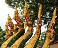 Naga sculpture in Lao temple. Laos Royalty Free Stock Photos