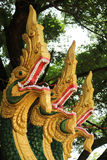 Naga sculpture in Lao temple Royalty Free Stock Photo