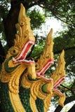Naga sculpture in Lao temple. Laos Royalty Free Stock Photo