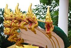 Naga sculpture in Lao temple. Laos Stock Image