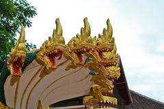 Naga sculpture in Lao temple. Laos Stock Photo