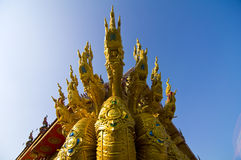 Naga sculpture in thai temple Stock Photography