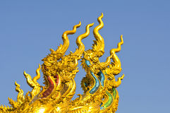 Naga sculpture in thai temple Royalty Free Stock Photos
